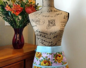 Yellow Rose in Purple Half Apron / Cotton / Spring / Short