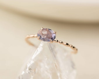 Unheated natural blue sapphire ring, 14k gold, rose gold white gold, lavender sapphire, teal sapphire engagement ring, can-r101