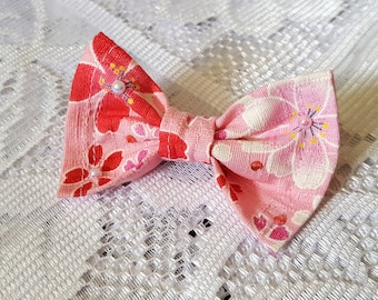 Pink Sakura Cherry Blossom Hair Bow - Small