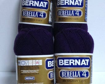 Bernat Berella The Afghan Yarn, Worsted #4 Thick Acrylic Yarn Destash, Velvet Night Rich Dark Purple Yarn for Knitting One Skein Wonders