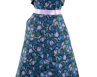 Vintage 1950's Floral Blue & Lilac Tulip Print Cotton Sun Dress - 50s Dress