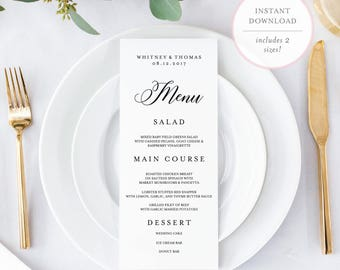 Wedding Menu Template. Menu Card Template. Menu Template. Printable Menu. Editable Wedding Menu. Editable Menu. Printable Wedding Menu. (BR)