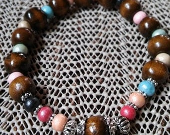 Rosary Stretch Bracelet - Dark Wood and Rainbow Pastels