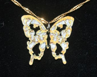 Silver and Gold Laser Cut Wooden Butterfly Pendant