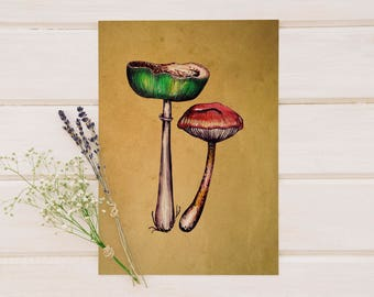 Gilled Mushrooms Original Watercolor Print - Printable Art - Instant Download