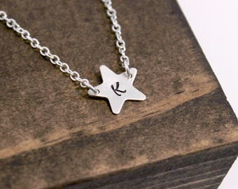 Hand Stamped Sterling Silver Initial Star Necklace, Stamped Star Necklace, Star Necklace with Two Holes, Initial Necklace, Bridesmaid Gift