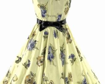 1950s Daffodil Yellow Floral Cotton Dress Ensemble