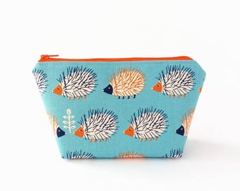 Cute makeup bag, Hedgehog pouch, Make up bag, Makeup pouch, Kawaii zip pouch, Makeup storage bag, Make up organizer, Cute coin pouch, Blue