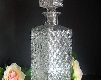 20% SALE Vintage Glass Decanter,Whiskey Decanter, Liquor Decanter,Carafe,Kithcen Decor