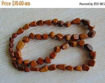 20% SALE Vintage wooden bead necklace, Vintage beaded necklace, Vintage necklace, Wooden beads , Wooden necklace, Brown beads