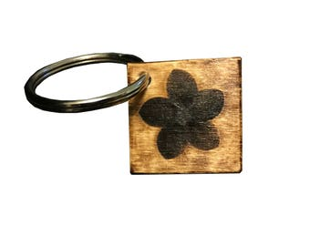 Wooden Square Floral Keychain