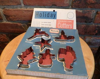 Vintage Alumode Stainless Steel Cookie Cutters in Original box, Vintage Holiday Cookie cutters, 1930's Cookie Cutters