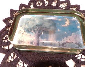 Glass Sun and Moon paperweight, Rectangular Glass Paperweight Vintage Office Décor, Vintage Glass paperweight, Morethebuckles