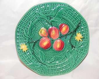 Vintage Majolica Plate with Peach pattern by Zell