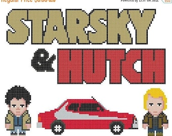 Starsky & Hutch Cross Stitch Pattern Pdf Pixel pattern Starsky pattern - 122 x 94 stitches - INSTANT Download - B595