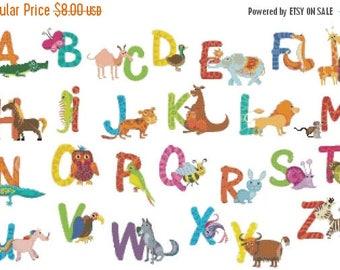 Cross Stitch Alphabet Pattern alphabet pattern abc pattern Animal korss - 352 x 224 stitches - INSTANT Download - B616