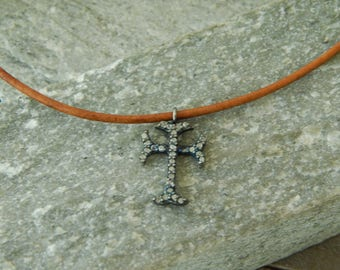 Leather necklace with pave diamond cross charm, leather jewelry, choker necklace, beach boho, festival chic, greek leather, religious