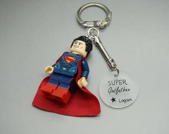 Personalized keychain super godfather with name children - Superman lego - godfather gift
