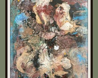 Original handmade textured wall art, blue,abstract 8x10 canvas.