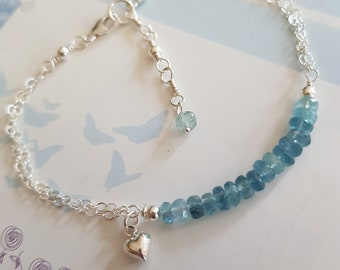 Sterling Silver Aquamarine bracelet- March Birthstone jewellery