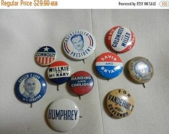 Summer Sale 10 Vintage Political Campaign Buttons