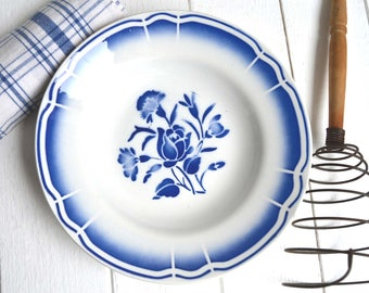 French Bowl Vintage Ironstone Antique Blue Stencilware Dish