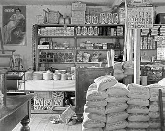 Country General Store, 1936. Vintage Photo Reproduction Print. 8x10 Black & White Photograph. Mercantile, Dry Goods, 1930s, 30s, Historical.