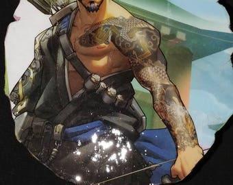 Casual hanzo shimada overwatch reflections art print hipster for Hanzo tattoo sleeve
