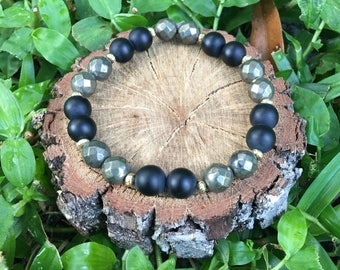 Gray Pyrite(8mm) Beaded Bracelet- Matte Black Onyx Agate Bracelet- Onyx Agate Bracelet - Pyrite Bracelet - Oliver Grey jewelry