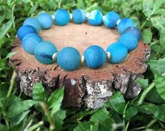 Dorothy Bracelet- Blue Druzy(10mm)- Druzy Jewelry - Stacking Bracelet - Blue Druzy Bracelet - Oliver Grey Jewelry - Blue Bracelet
