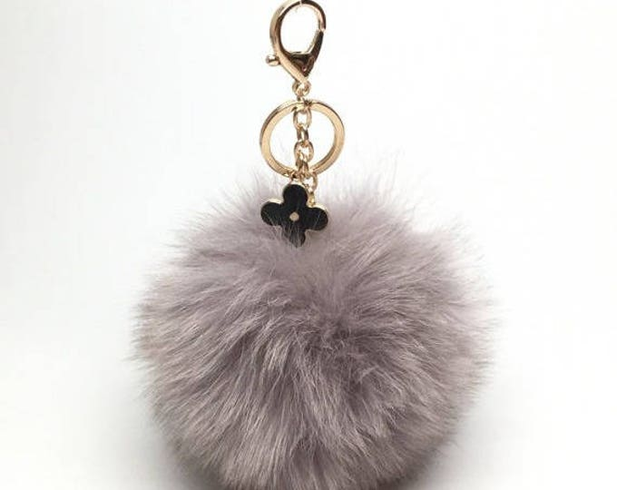 New! Light Gray fox fur Pompon bag charm pendant Fur Pom Pom keychain keyring with flower charm