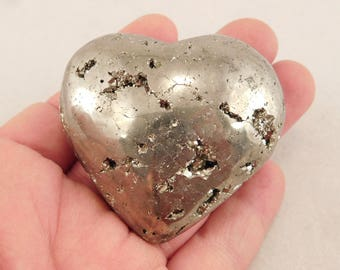 A PYRITE Crystal HEART with Vugs Full of PERFECT Crystals! from Peru 233gr