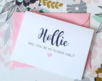 Personalised bridesmaid proposal cards - will you be my bridesmaid - announcements - maid of honour, flower girl, chief bridesmaid