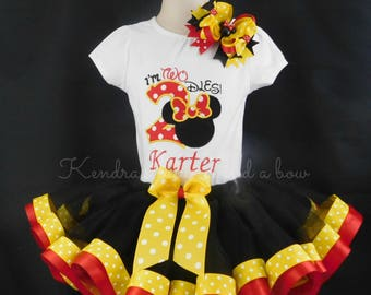 """Minnie mouse 2nd birthday yellow and red """"I'm twodles"""" ribbon trimmed tutu set"""