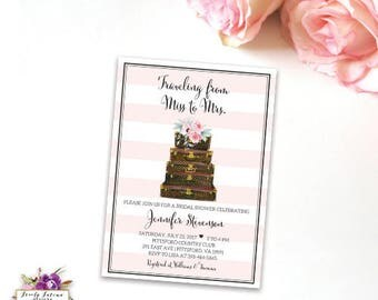 Traveling from Miss to Mrs - Bridal Shower Invitation - Louis Vuitton Luggage - Pink White Striped - Watercolor Flower - Digital Printable