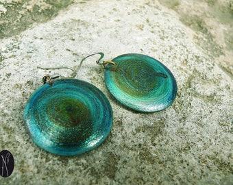 Wood turned (seagreen) glitter Stud Earrings