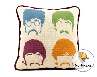 Fab Four Needlepoint Pattern, Popular Music Cross stitch Pillow Pattern, Instant Download Digital Pattern, Sgt Peppers Cushion, Pattern