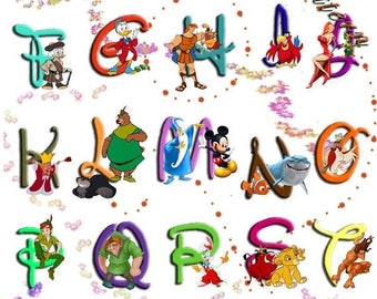 """ON SALE Counted Cross Stitch Patterns - Alphabet Disney characters 2 - 23.64"""" x 32.36"""" - L828"""