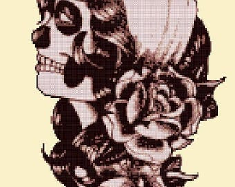 "dead girl sugar skull Counted Cross Stitch sugar skull pattern ponto cruz kreuzstitch embroidery - 9.86"" x 14.07"" - L1205"