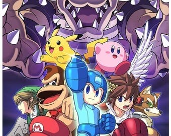 "Super Smash Bros Counted Cross Stitch Super Smash Pattern modern cross stitch eedlepoint needlecraft -17.21"" x 25.36""- L856"