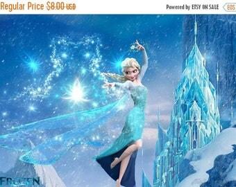 "Elsa and the castle counted Cross Stitch Elsa Pattern easy cross stitch, needlepoint, kreuzstitch - 35.43"" x 25.71"" - L106"