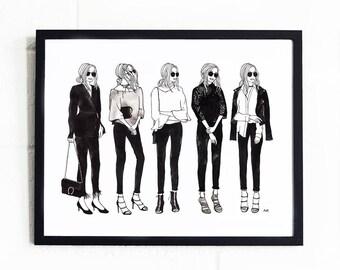 Fashion Illustration / Black and White / Chic Wall Art Print / Fashion Wall Art / Minimalist Fashion Print /Fashion Sketch/ Fashion Poster