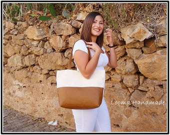 Brown Italian leather-bottomed tote bag and burlap bag woman