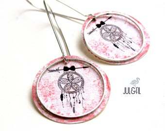 Boho dreamcatcher dream black on pink floral vintage Stud Earrings