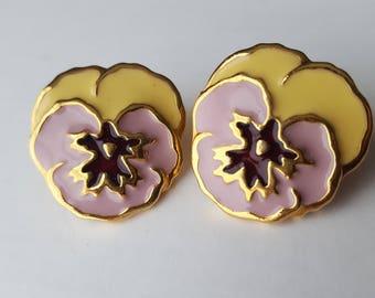 Pansie Flower Earrings   Floral   Post   Stud   Yellow   Purple   Lavender   Gold   Spring Earrings