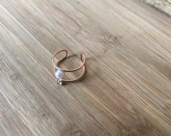 Double Rose Gold Ring, Ring Set, Pearl Ring, Midi Ring, Stacking Rings, Stackable Rings, Gift for her, Gift for Sister, Gift for Mom