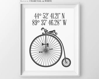 Personalised New Home Gift GPS Coordinates Sign Housewarming Gift For Her Cyclist Gifts Bicycle Wall Art Custom Coordinates Bicycle Prints