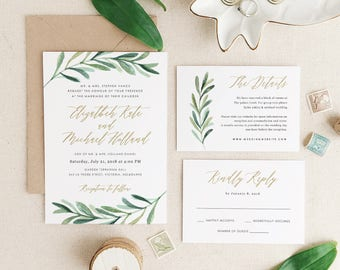Greenery Wedding Invitation Template, Printable Wedding Invitation, Invitation Suite, Botanical Calligraphy | Edit in Word or Pages