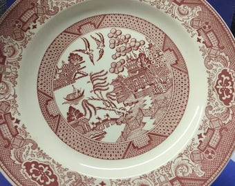 """Vintage Blue Willow/Red Willow Dinner Plate  9 3/4"""""""