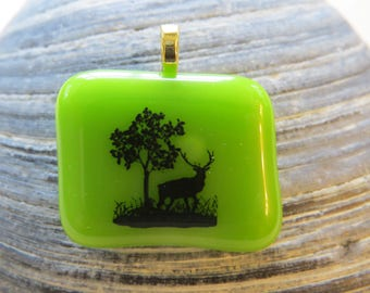 Elk on Green Fused Glass Pendant